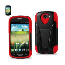 REIKO SAMSUNG GALAXY EXPRESS HYBRID HEAVY DUTY CASE WITH KICKSTAND IN RED BLACK