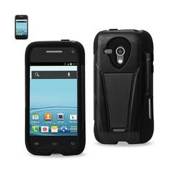 REIKO SAMSUNG GALAXY RUSH HYBRID HEAVY DUTY CASE WITH KICKSTAND IN BLACK