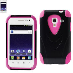 REIKO SAMSUNG GALAXY ADMIRE 4G HYBRID HEAVY DUTY CASE WITH KICKSTAND IN BLACK PINK