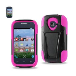 REIKO SAMSUNG GALAXY CENTURA HYBRID HEAVY DUTY CASE WITH KICKSTAND IN HOT PINK BLACK