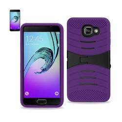 REIKO SAMSUNG GALAXY A3 (2016) HYBRID HEAVY DUTY ANTI SLIP CASE WITH KICKSTAND IN PURPLE BLACK