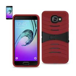 REIKO SAMSUNG GALAXY A3 (2016) HYBRID HEAVY DUTY ANTI SLIP CASE WITH KICKSTAND IN RED BLACK