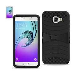 REIKO SAMSUNG GALAXY A7 (2016) HYBRID HEAVY DUTY ANTI SLIP CASE WITH KICKSTAND IN BLACK