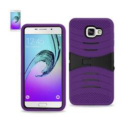 REIKO SAMSUNG GALAXY A7 (2016) HYBRID HEAVY DUTY ANTI SLIP CASE WITH KICKSTAND IN PURPLE BLACK