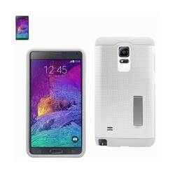 REIKO SAMSUNG GALAXY NOTE 4 SLIM ARMOR HYBRID CASE WITH KICKSTAND IN WHITE