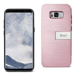 REIKO SAMSUNG S8 EDGE/ S8 PLUS SLIM ARMOR HYBRID CASE WITH CARD HOLDER AND KICKSTAND IN ROSE GOLD