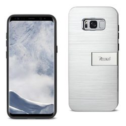 REIKO SAMSUNG S8 EDGE/ S8 PLUS SLIM ARMOR HYBRID CASE WITH CARD HOLDER AND KICKSTAND IN SILVER