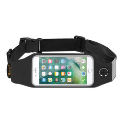REIKO RUNNING SPORT BELT FOR IPHONE 7 PLUS/ 6S PLUS OR 5.5 INCHES DEVICE WITH TWO POCKETS IN BLACK (5.5x5.5 INCHES)