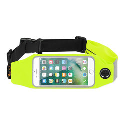REIKO RUNNING SPORT BELT FOR IPHONE 7 PLUS/ 6S PLUS OR 5.5 INCHES DEVICE WITH TWO POCKETS IN GREEN (5.5x5.5 INCHES)