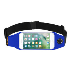 REIKO RUNNING SPORT BELT FOR IPHONE 7 PLUS/ 6S PLUS OR 5.5 INCHES DEVICE WITH TWO POCKETS AND LED IN BLUE (5.5x5.5 INCHES)