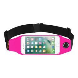 REIKO RUNNING SPORT BELT FOR IPHONE 7 PLUS/ 6S PLUS OR 5.5 INCHES DEVICE WITH TWO POCKETS AND LED IN PINK (5.5x5.5 INCHES)