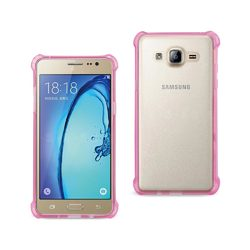 REIKO SAMSUNG GALAXY ON5/ J5 CLEAR BUMPER CASE WITH AIR CUSHION SHOCK ABSORPTION IN CLEAR HOT PINK