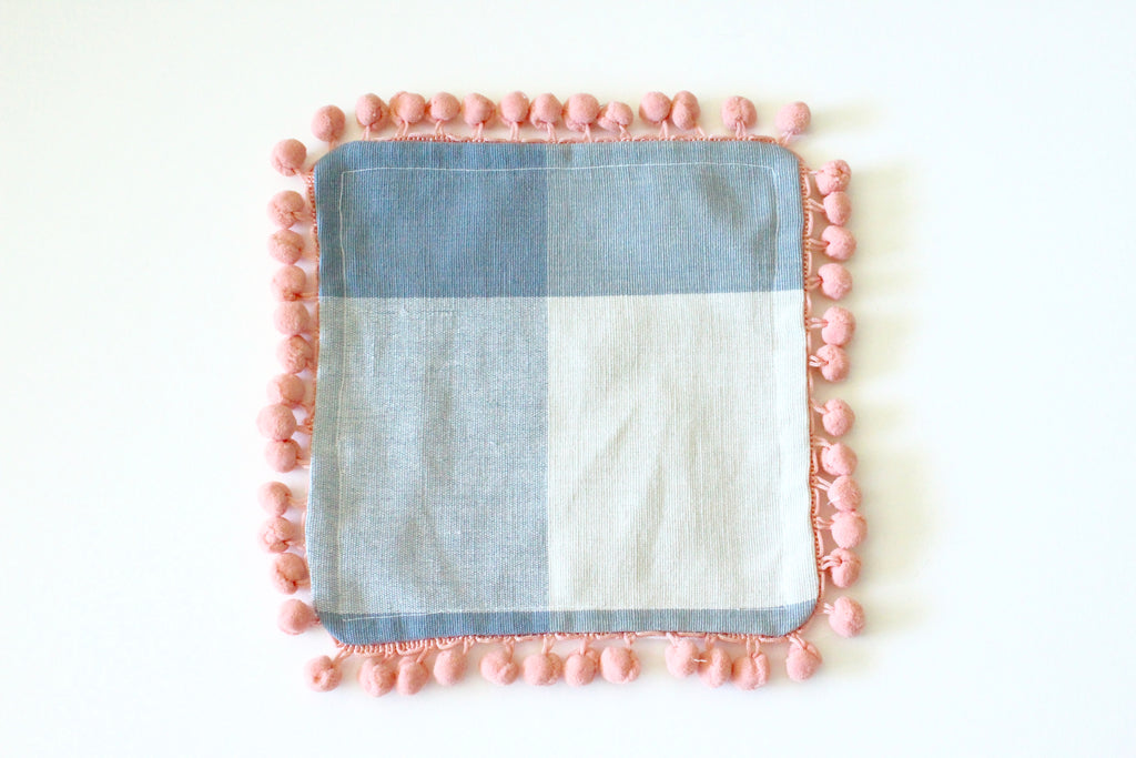 Blue Buffalo Check Cocktail Napkins with Pom Poms