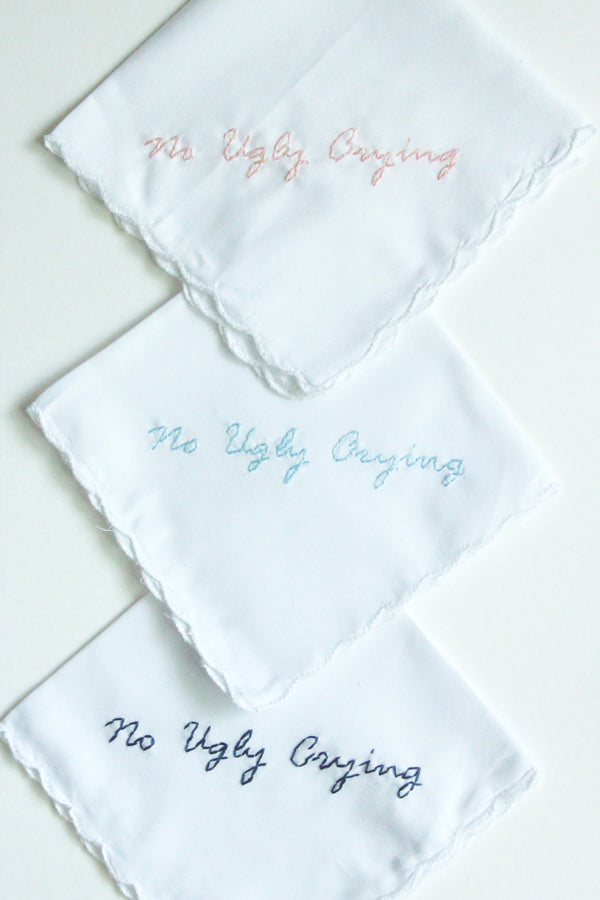 No Ugly Crying Funny Wedding Handkerchief