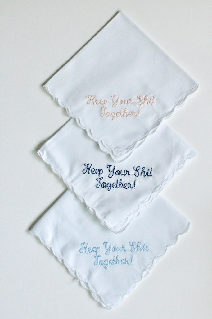 Keep your shit together funny wedding handkerchief