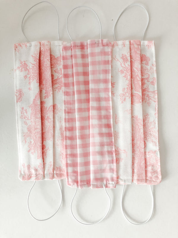Pink Toile Face Mask