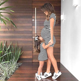 0 4T Summer mother daughter dresses Family matching Clothes Women Girl Short Sleeve Striped Beach Dress