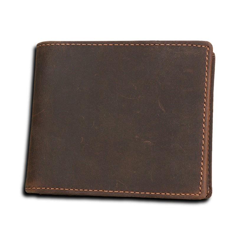 100% Genuine Leather Men Wallet Zipper Small Money Purses Short Bifold