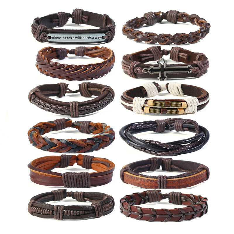 12pcs/set New vintage men's cowhide bracelet simple multi layer woven DIY suit leather bracelet cross border