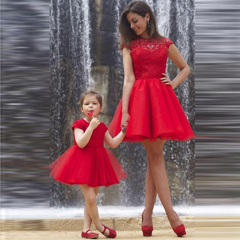 Princess Dress Red short Mother Kids Mother Daughter Dresses for  Wedding Party Girl Dress Children's Bridesmaid
