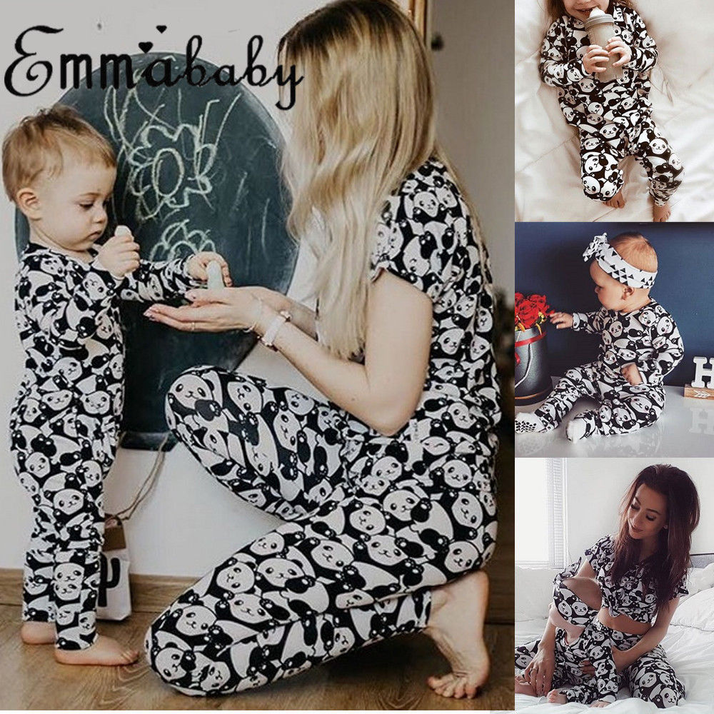 Women Baby Kids Girl Sleepwear Nightwear Panda Print Matching Outfits