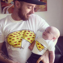 Father Baby Clothes  Matching Outfits Pizza Print T-shirt