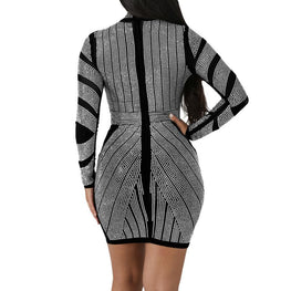 2018 High Quality Digital Print Long Sleeve Dress Design Simple Women Dress