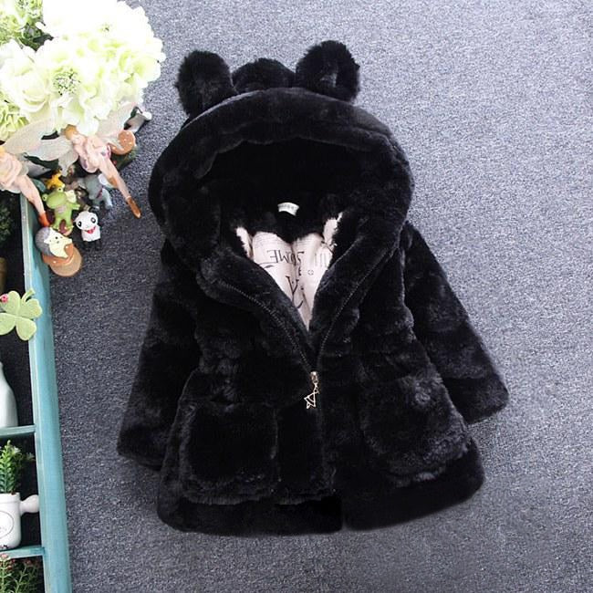 1bc27844e0b5 2018 New Winter Baby Girls Clothes Faux Fur Fleece Coat Pageant Warm ...