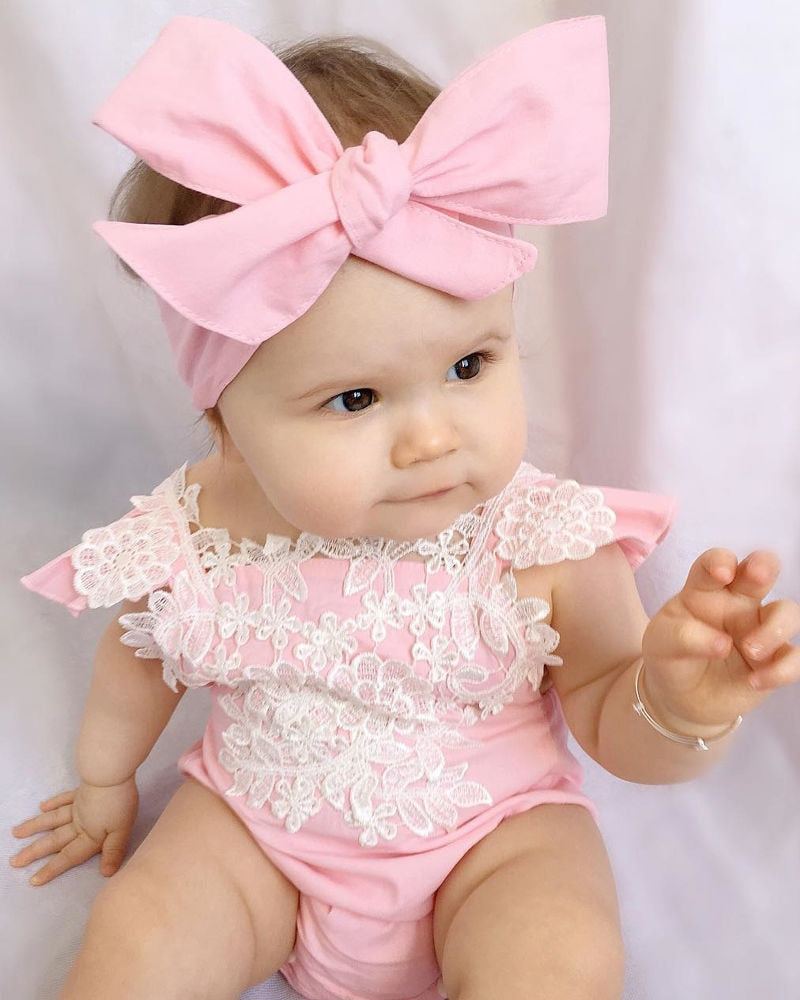 Infant Baby Kids Girls Lace Lovely Floral Romper 0-18M