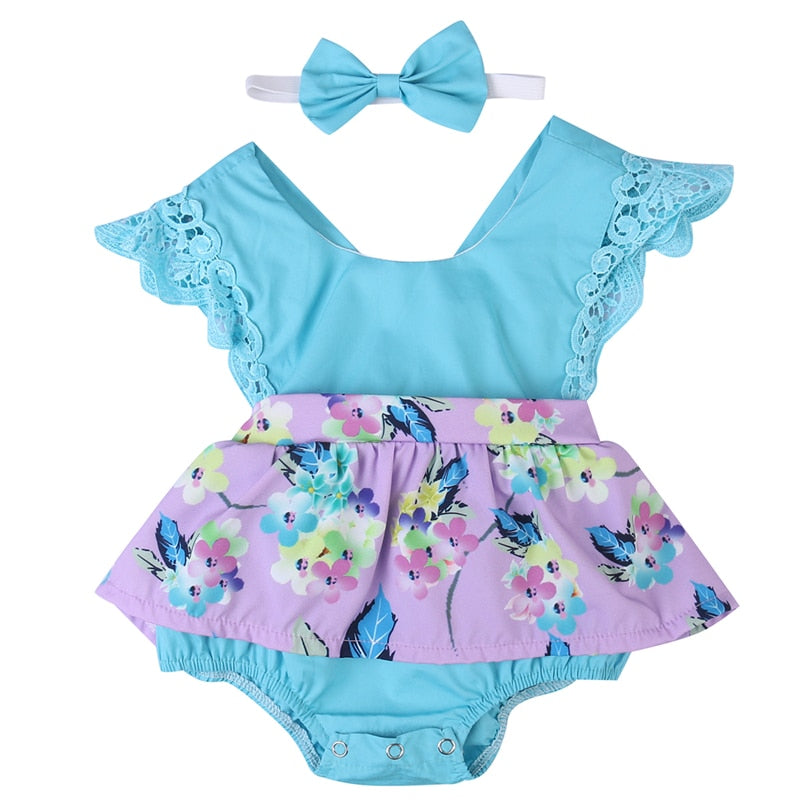 Sleeveless Romper + Hat Baby Girls Clothing Set Floral