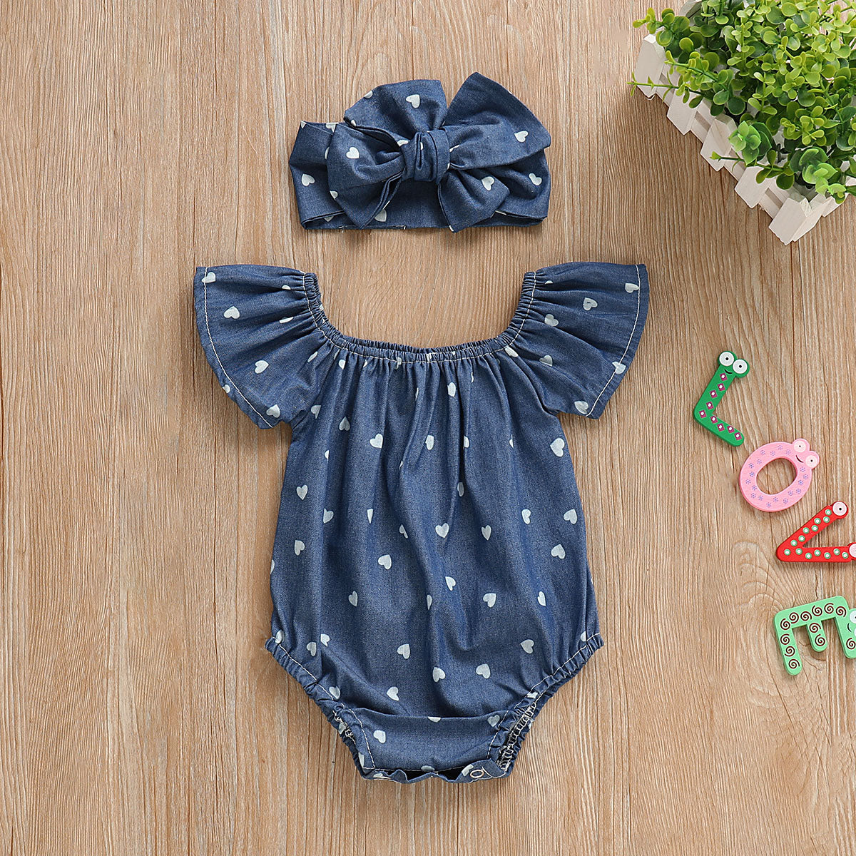 Baby Girl summer clothing Denim Blue Cotton 2pcs Outfits Romper
