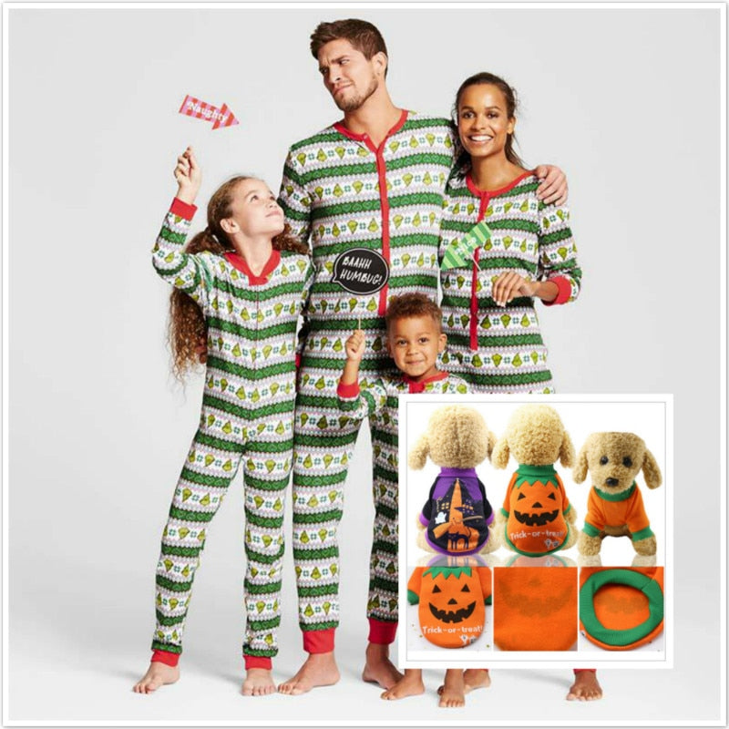 Christmas Pajamas Clothes Family Nightware  Winter Cotton Long Sleeve Father Mother Children Dog  Family Matching Clothes