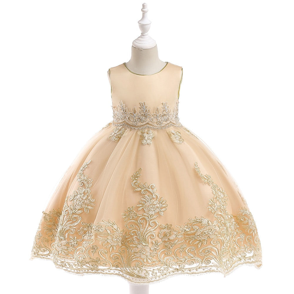2019 Embroidery Flower Summer Girls Dress Baby Girl Toddler Clothes Kids Princess Wedding Party Dress