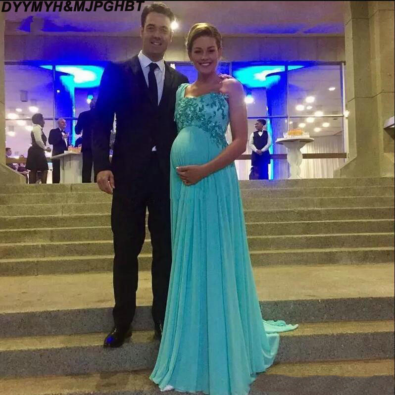 Maternity Evening Dresses One Shoulder Applique Zipper Back Vestidos De Novia Long Sweep Chiffon Pregnant Prom Gowns