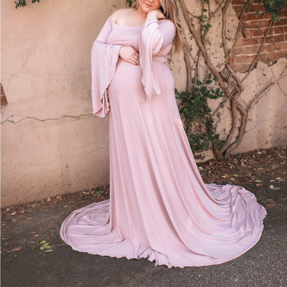 2019 Maxi Pregnancy Clothes Lace Maternity Dress Fancy Shooting Photo  Xxl to 5xl