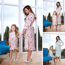 Mother Daughter Family Matching Dress Womens Kids Girls Floral Beachwear Dresses