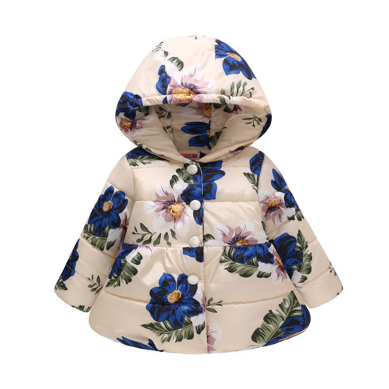 Winter Jackets Girls Thick Baby Girl Jacket Autumn Hooded Baby Jacket Warm Cotton Jacket Print Winter Coats Children Down