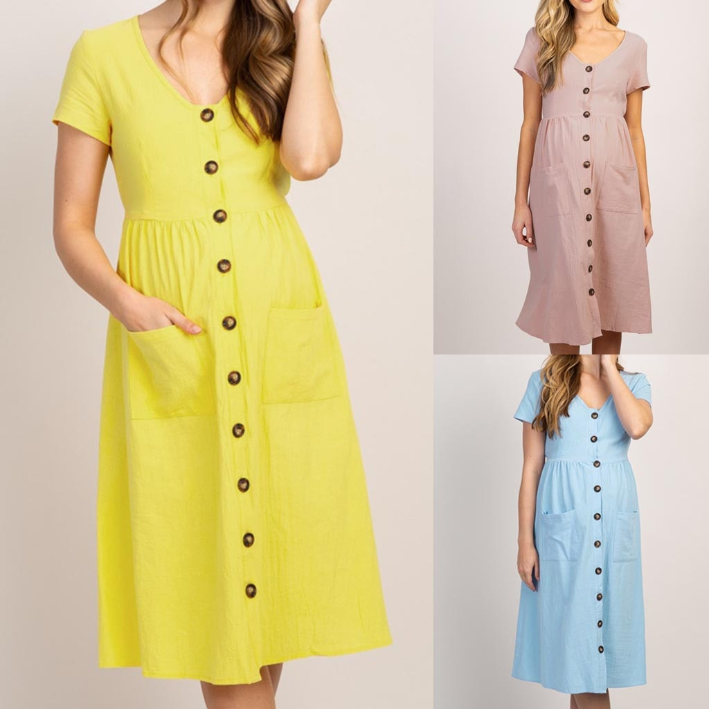 maternity Fashion Button Solid V Neck Short Sleeve Comfortable Long Dress