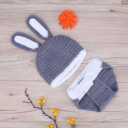 2pcs/Set Newborn Handmade Infant Outfits Winter Baby Rabbit Shaped Crochet Knit Hat Shorts Warm