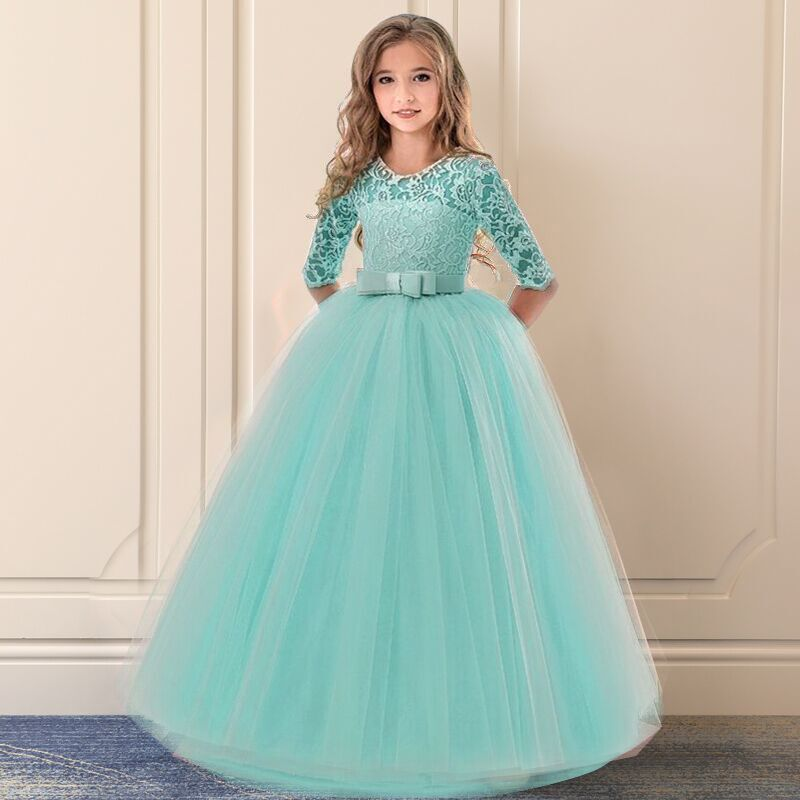 6 14 Years Flower Lace Dress Girls Clothes Princess Party Pageant Long Gown Wedding Evening Clothing