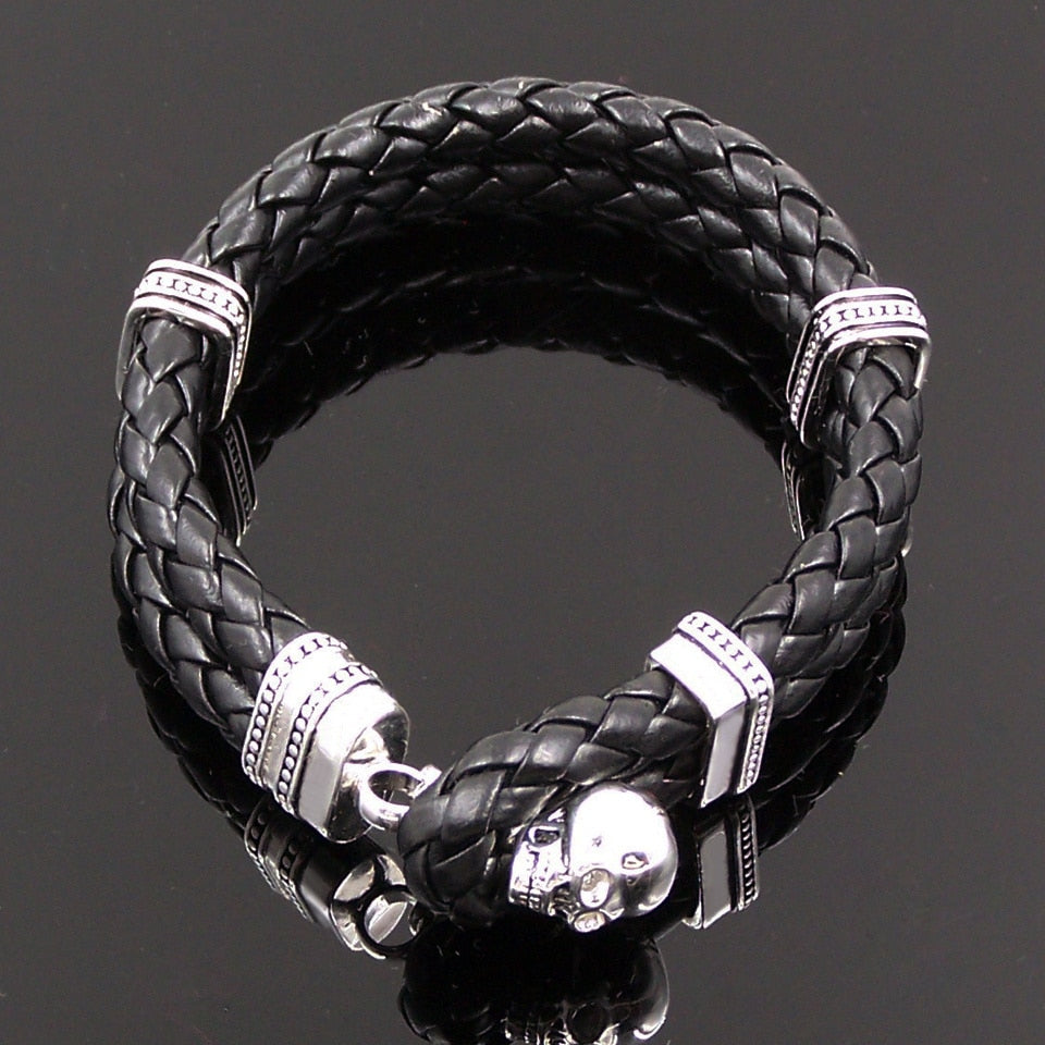 925 Sterling Silver Skull Leather Bracelets Men, Women Fashion Glam