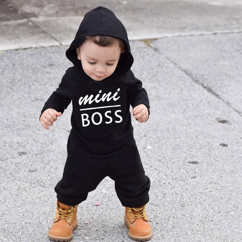 infant baby boy Rompers Cotton Long Sleeve mini boss Hooded
