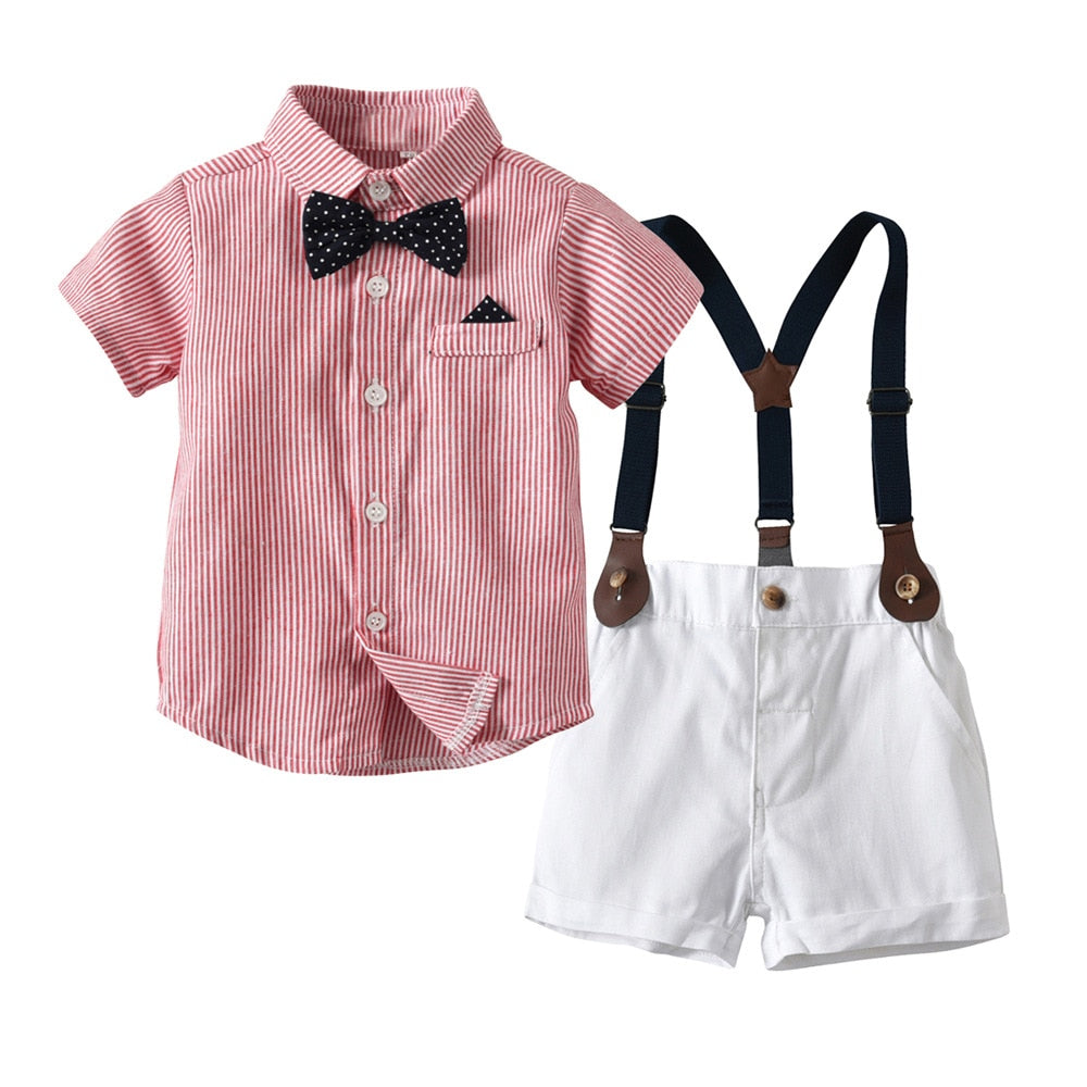 Baby Boy Gentleman Clothes Set Summer Suit Shirt with Bow Tie+Suspender Shorts