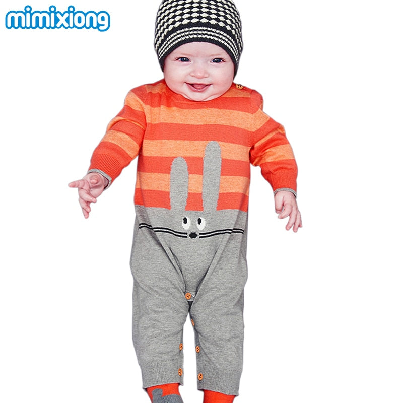 521ec8b7967b Baby Girls Rompers 3D Rabbit Knitted Toddler Boys Jumpsuits Long Sleeve