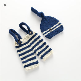 Costume Clothes Newborn Girls Boys Crochet Knit Overall Bib Pants + Hat 2pcs Sets Striped Outfits