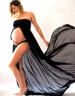 Black White Sexy Maternity Dresses Lace Long Strapless Maxi Dress
