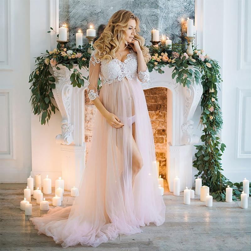 Blush Pink Long Tulle Maternity Dresses With Half Sleeves Appliques Pregnant Women Dress To Photoshoots 2018 V neck Custom Made