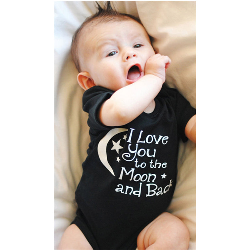 Bodysuit Baby Boys Girls Clothing I Love You To The Moon And Back Black Newborn Baby Babygrow Playsuits Clothes Bodysuits 0-24 M