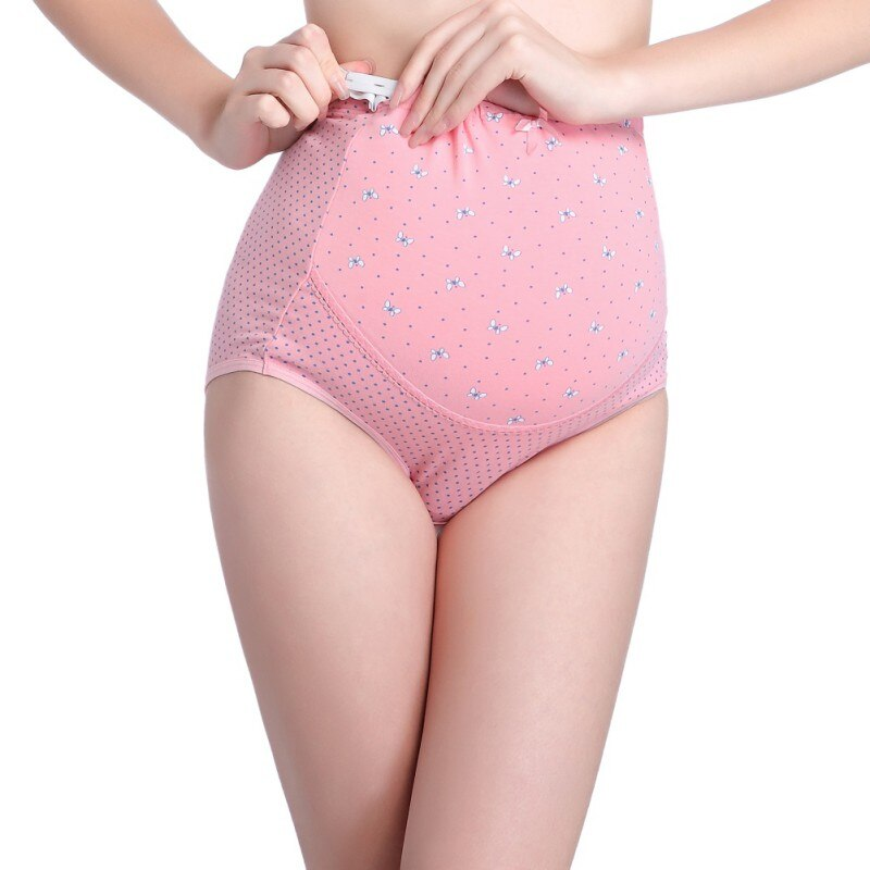 Breathable Pregnant Women's Maternity Panties Dots Print High Quality Adjustable Briefs For Pregnancy