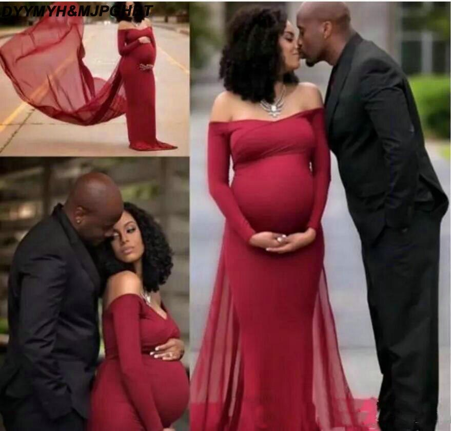 Burgundy Long Sleeve Maternity Evening Dresses Off Shoulder Women Party Dress Sweep Train For Pregnant Evening Gowns